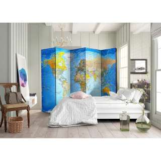 home24 Paravent World Classic Map (5-teilig)