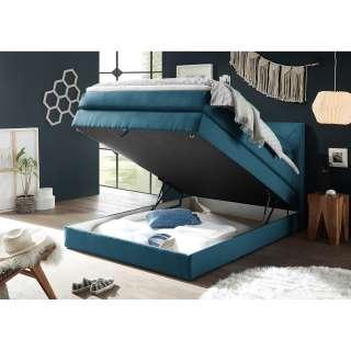 home24 loftscape Boxspringbett Griggs 120x200 cm Webstoff Dunkelblau mit Bettkasten/Matratze/Topper Modern
