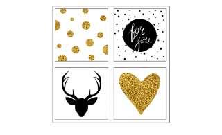 4er-Set eckige Magnete  Black & Gold Dekoration > Bilder & Schilder - Höffner