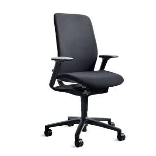Wilkhahn - AT Drehstuhl - mit Sitztiefe - Rollen für weiche Böden - schwarz