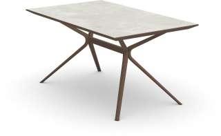 Fast - Moai rechteckiger Tisch  mit Steinplatte - Tischplatte Stoneware Snow - Gestell maracuja - 150 x 90 cm