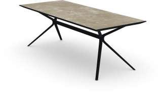 Fast - Moai rechteckiger Tisch  mit Steinplatte - Tischplatte Stoneware Hazel - Gestell schwarz - 220 x 100 cm