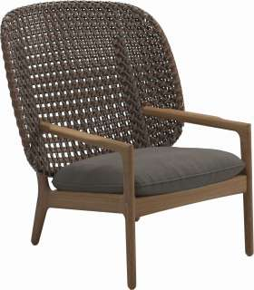 Gloster - Kay Lounge Sessel High Back - Geflecht: Brindle - Kissen: - Fife Nickel