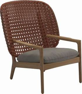 Gloster - Kay Lounge Sessel High Back - Geflecht: Copper - Kissen: - Couture Smoke