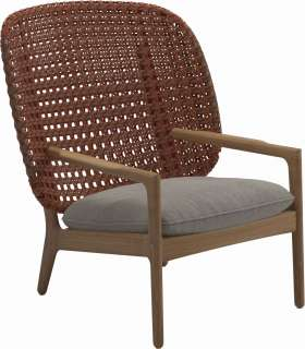 Gloster - Kay Lounge Sessel High Back - Geflecht: Copper - Kissen: - Robben Grey