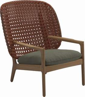 Gloster - Kay Lounge Sessel High Back - Geflecht: Copper - Kissen: - Robben Leaf