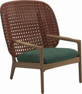 Gloster - Kay Lounge Sessel High Back - Geflecht: Copper - Kissen: - Robben Forest