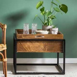 Couch Beistelltisch aus Akazie Massivholz und Metall Tablettfunktion