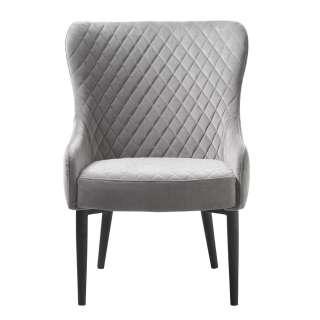 Esszimmer Sessel in Grau Samt Vintage Look