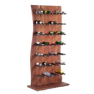 Weinflaschenhalter aus Akazie Massivholz und Eisen Landhaus Design