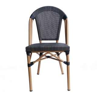 Balkonstühle in Schwarzbraun und Beige Retrostil (2er Set)