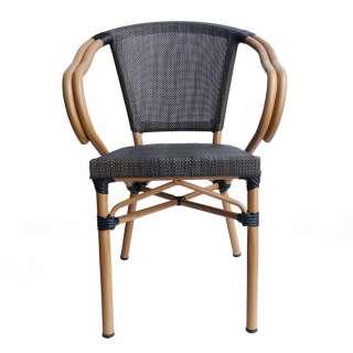 Gartenstühle in Schwarzbraun und Beige Armlehnen (2er Set)