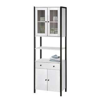 Badezimmerhochschrank in Weiß und Schwarz Glastüren