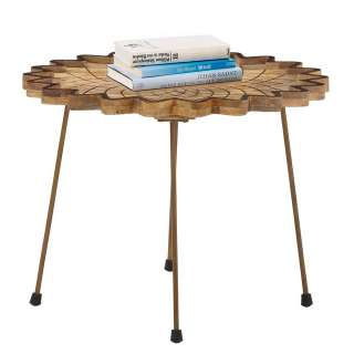 Designertisch aus Mangobaum Massivholz und Metall 60 cm breit