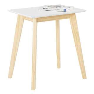 Beitisch in Weiß und Kiefer Skandi Design