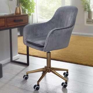 Schreibtischsessel in Grau Samt Retro Design