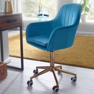 Schreibtisch Drehstuhl in Blau Samt Retrostil