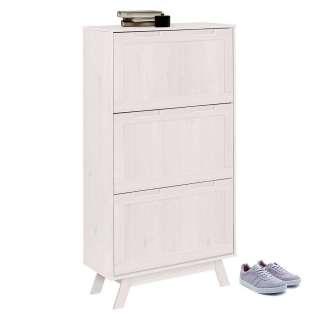Schuhklappenschrank in Weiß lasiert Kiefer Massivholz