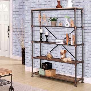 Wohnzimmer Regal in Holz verwitterter Optik und Eisen 180 cm hoch