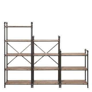 Raumteilerregale in Holz verwitterter Optik und Eisen 160 cm hoch (3-teilig)