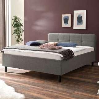Polsterbett in Grau Webstoff 90 cm Kopfteil