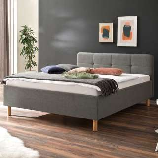 Komfortbett in Hellgrau Webstoff Mittelsteg