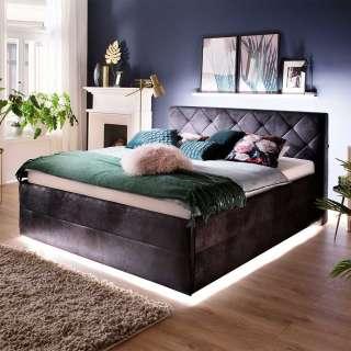 Hohes Bett in Schwarz Microfaser LED Beleuchtung