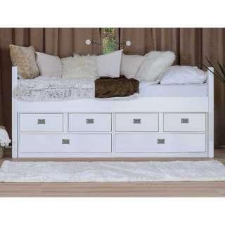 Bett in Weiß Buche teilmassiv Schubladen