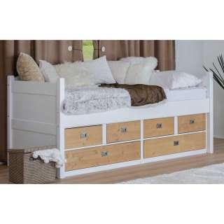 Schubladenbetten in Weiß und Eichefarben 90x200 cm