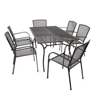 Gartensitzgruppe in Anthrazit Aluminium und Stahl (7-teilig)