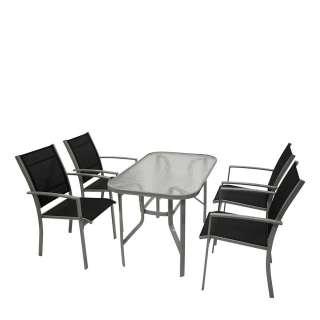 Terrassensitzgruppe in Schwarz und Silberfarben Glastisch (5-teilig)