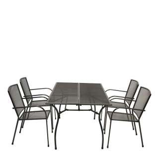 Terrassensitzgruppe in Anthrazit vier Armlehnenstühlen (5-teilig)