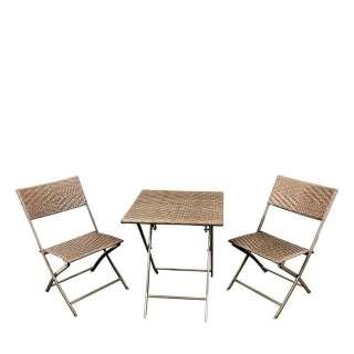 Gartentischgruppe aus Kunstrattan und Stahl Landhausstil (3-teilig)
