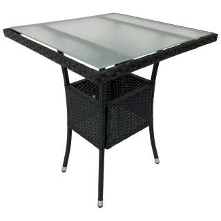 Glas Gartentisch aus Kunstrattan und Sicherheitsglas 60 cm breit