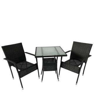 Balkonmöbel Set aus Kunstrattan und Sicherheitsglas modern (3-teilig)