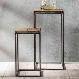 Blumenhocker aus Hartholz und Metall Loft Design (2-teilig)