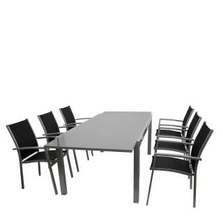 Gartentischgruppe in Grau und Schwarz modern (7-teilig)
