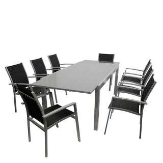 Gartenmöbel Set in Grau und Schwarz großem Glastisch (9-teilig)