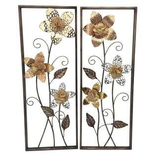 Florale Wanddeko in Altgoldfarben und Silber Metall (2-teilig)