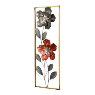 Wanddekoration aus Metall Blumen Motiven