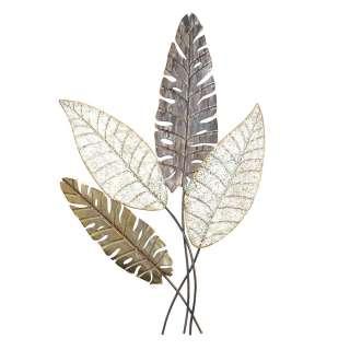 Metall Wanddeko in Silberfarben und Gold Blätterform