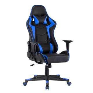 Gamingstuhl in Blau und Schwarz verstellbarer Rückenlehne