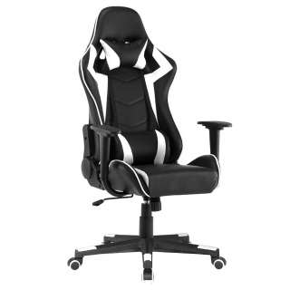 Gaming Schreibtischstuhl in Schwarz und Weiß höhenverstellbarem Sitz