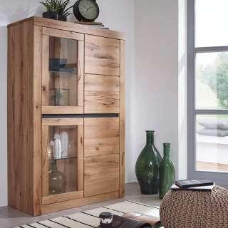 Wohnzimmer Vitrinenschrank aus Wildeiche Massivholz Zerreiche Massivholz