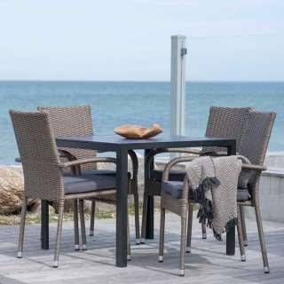 Balkonmöbel Set aus Kunstrattan und Aluminium Armlehnern (5-teilig)