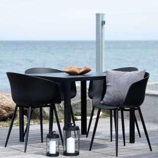 Balkonmöbel Set in Schwarz und Grau 90x90 cm Tisch (5-teilig)