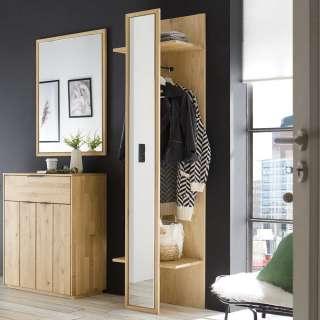 Garderobenpaneel in Wildeiche Bianco massiv Spiegel