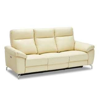 Relaxsofa in Cremefarben Echtleder Taschenfederkern