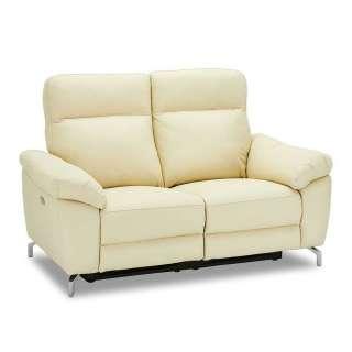 Leder Couch in Cremefarben Relaxfunktion