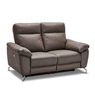 Wohnzimmer Couch in Grau Echtleder Relaxfunktion